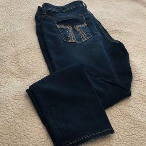 Seven dark wash stretchy skinny jeans sz 16